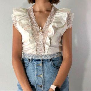 80's floral & lace satin crop top